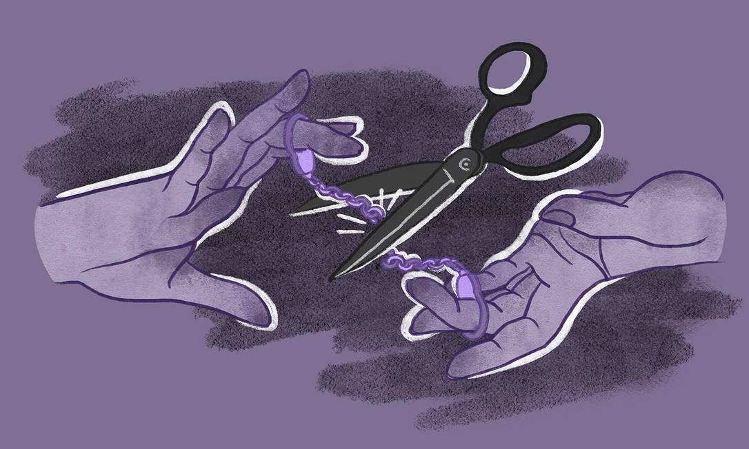 Acelerar o divórcio permite que a mulher consiga se desligar mais rápido do agressor Foto: Arte de Lari Arantes