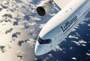 Avião A350-900 da Lufthansa, que será usado na rota entre São Paulo e Munique a partir de dezembro de 2019 Foto: Divulgação