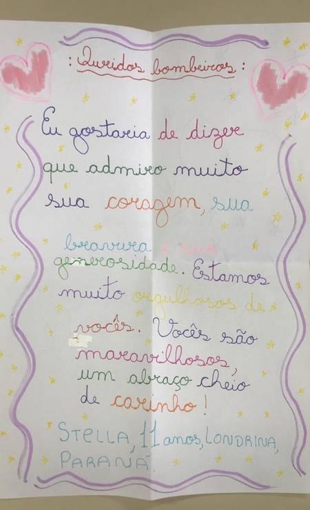 """Stella, de 11 anos, de Londrina (PR), diz que está muito orgulhosa do trabalho dos bombeiros e manda um abraço """"cheio de carinho"""" Foto: Divulgação"""