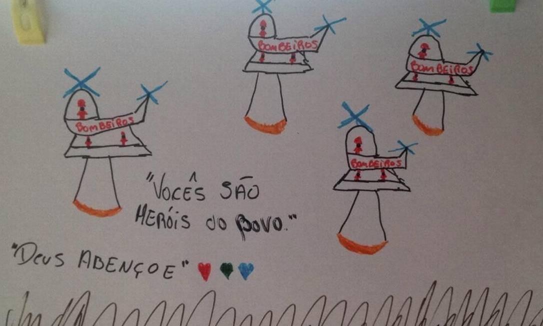 Criança desenha helicópteros usados pelos bombeiros nos regsates à vítimas de Brumadinho Foto: Divulgação