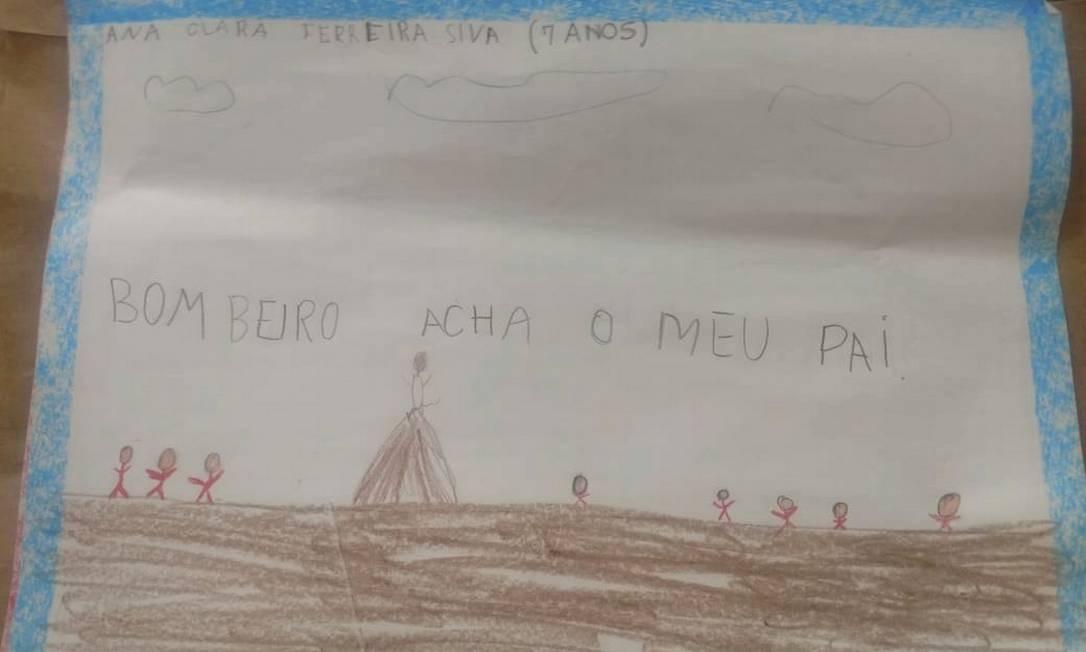 Em uma das cartas, Ana Clara, de 7 anos, pede que os bombeiros achem seu pai. Foto: Divulgação