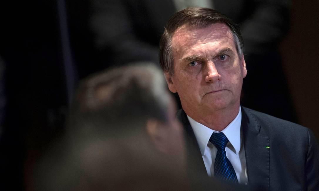 """Jair Bolsonaro foi escolhido pela Câmara de Comércio Brasil-Estados Unidos para recebera a honraria de """"Pessoa do Ano"""", em uma cerimônia de gala marcada para 14 de maio. O espaço reservado para o evento foi o Museu de História Natural de Nova York Foto: MAURO PIMENTEL / AFP"""