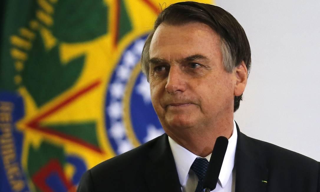 Jair Bolsonaro durate solenidade alusiva aos 100 Dias de Governo, no Palácio do Planalto Foto: Jorge William / Agência O Globo