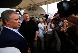 Secretário de Estado americano, Mike Pompeo conversa com presidente colombiano, Iván Duque, em Cúcuta Foto: SCHNEYDER MENDOZA 14-02-2019 / AFP