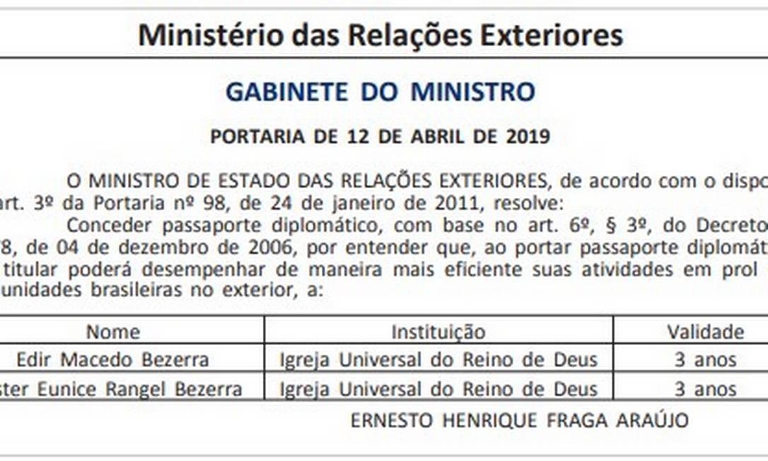 Publicação no Diário Oficial da União Foto: Reprodução / DOU