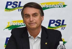 Bolsonaro em evento do PSL, partido ao qual se filiou em janeiro de 2018 após passagens por outras oito legendas Foto: Divulgação / PSL