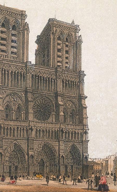 Uma ilustração mostrando a Catedral de Notre-Dame em 1857 Foto: Kean Collection / Getty Images