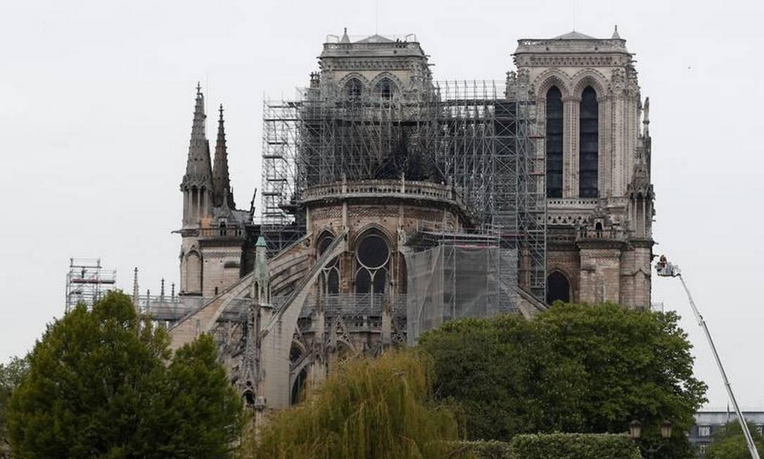 Catedral de Notre-Dame após o incêndio Foto: AFP