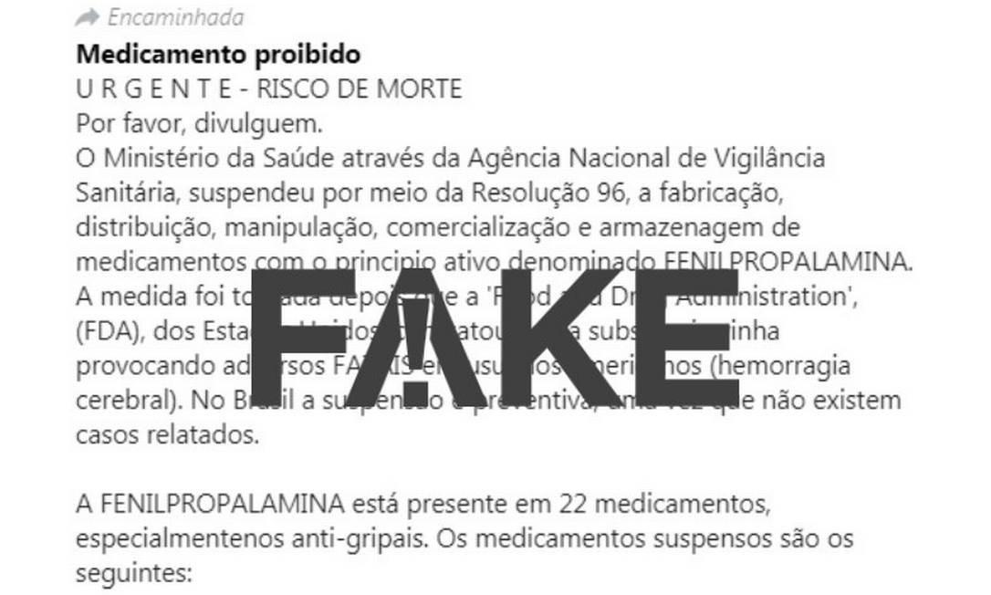Mensagem falsa sobre a fenilpropanolamina circula nas redes sociais há mais de dez anos Foto: Reprodução/WhatsApp