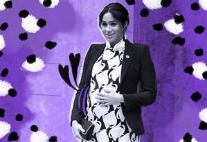 Meghan Markle assume o papel de mãe de bebê real Foto: Arte de Lari Arantes sobre foto Reuters