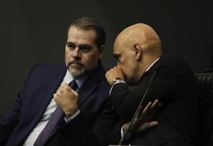 Dias Toffoli e Alexandre de Moraes, os protagonistas do inquérito do STF Foto: Fabio Rodrigues Pozzebom / Agência Brasil