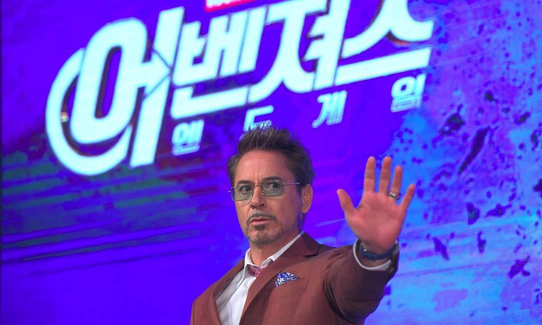 Robert Downey Jr. durante evento de divulgação de 'Vingadores: Ultimato' em Seul, na Coreia do Sul Foto: JUNG YEON-JE / AFP