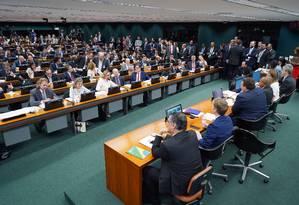 Sessão da Comissão de Constituição e Justiça (CCJ) discute parecer da reforma da Previdência Foto: Pablo Valadares/Câmara dos Deputados