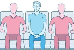 Manual de etiqueta para turistas: o que fazer em caso de sentar no assento do meio no avião? Foto: André Mello / Editoria de Arte