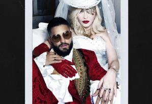 Madonna e Maluma na capa do single 'Medellín' Foto: Divulgação