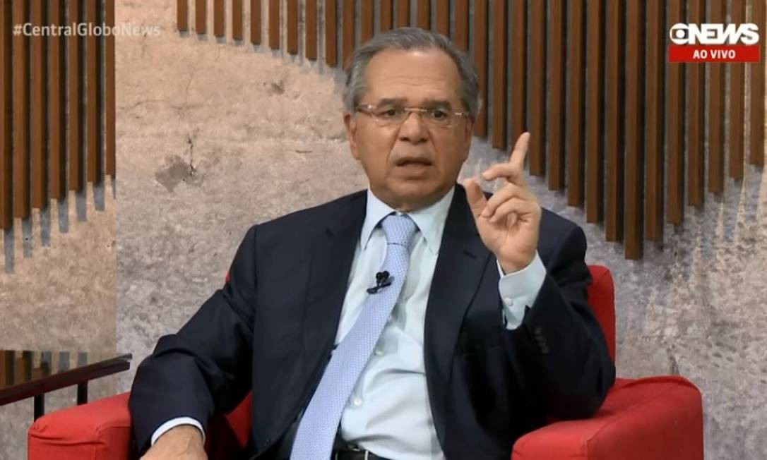 Ministro Paulo Guedes durante entrevista ao programa Central GloboNews Foto: Reprodução/TV