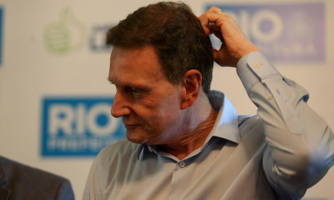 Marcelo Crivella: defesa foi apresentada a 20 minutos do fim do prazo na última quarta-feira Foto: Pedro Teixeira / Agência O Globo