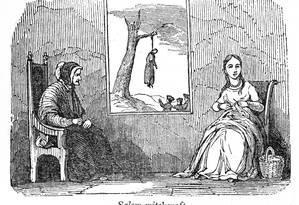 Ilustração mostra duas mulheres em uma casa enquanto, ao fundo, uma das execuções por bruxaria em Salem acontece Foto: Interim Archives / Getty Images