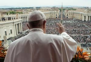 Papa Francisco durante tradicional missa de Páscoa no Vaticano: pedidos pela Venezuela e Nicarágua Foto: HANDOUT / AFP