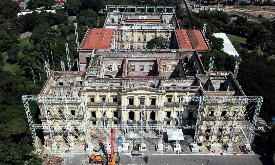 O Museu Nacional, em abril de 2019, meses após do incêndio que destruiu parte do edifício e seu acervo Foto: Custódio Coimbra / Agência O Globo