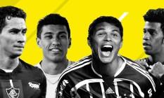 Ganso, Paulinho, Thiago Silva e Gil estão entre os maiores jogadores do Brasileirão de pontos corridos Foto: Editoria de Arte