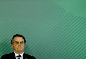 O presidente Jair Bolsonaro em solenidade no Palácio do Planalto Foto: Jorge William / Agência O Globo