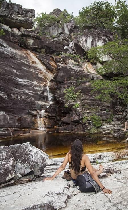 A cachoeira do Abismo é outro ponto bastante conhecido do parque, que fica no estado de Goiás Foto: Hermes de Paula / Agência O Globo