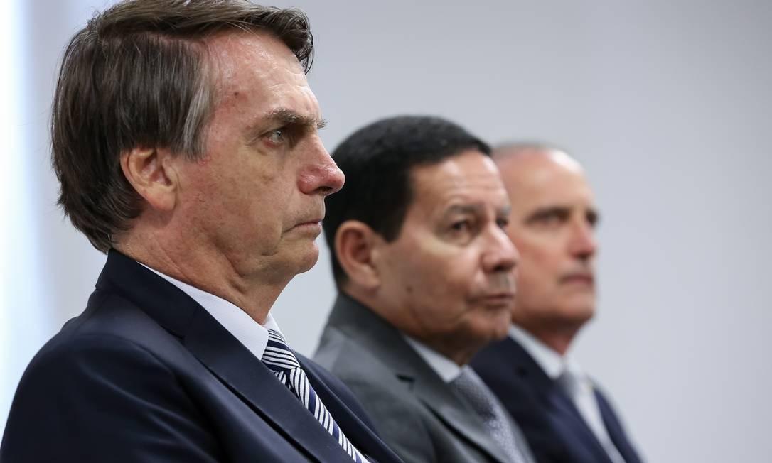 O presidente Jair Bolsonaro e o vice Hamilton Mourão Foto: Marcos Correa / Agência O Globo