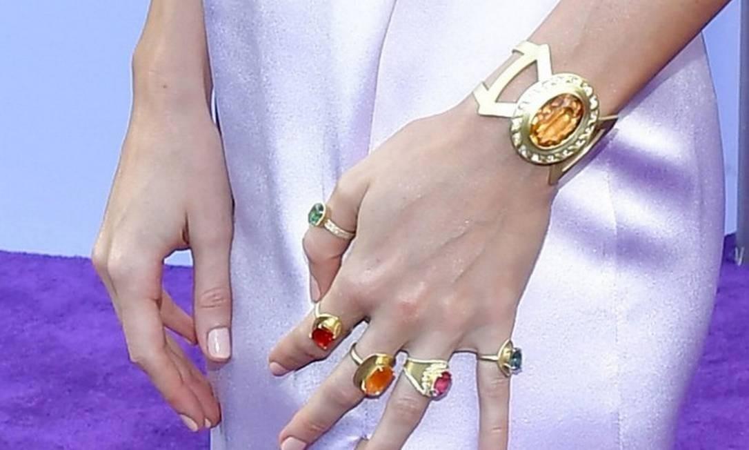 Brie usou anéis que representam as Joias do Infinito, em poder do vilão Thanos Foto: Amy Sussman / AFP