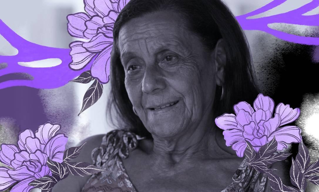 Maria José Machado tem 72 anos e é o retrato de 66,7% de mulheres brasileiras com mais de 60 anos que mantêm a vida sexual ativa Foto: Arte de Lari Arantes sobre foto de Fernando Lemos