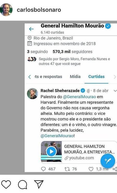 O Zero Dois alega que Mourão curtiu um post no Twitter Foto: Reprodução