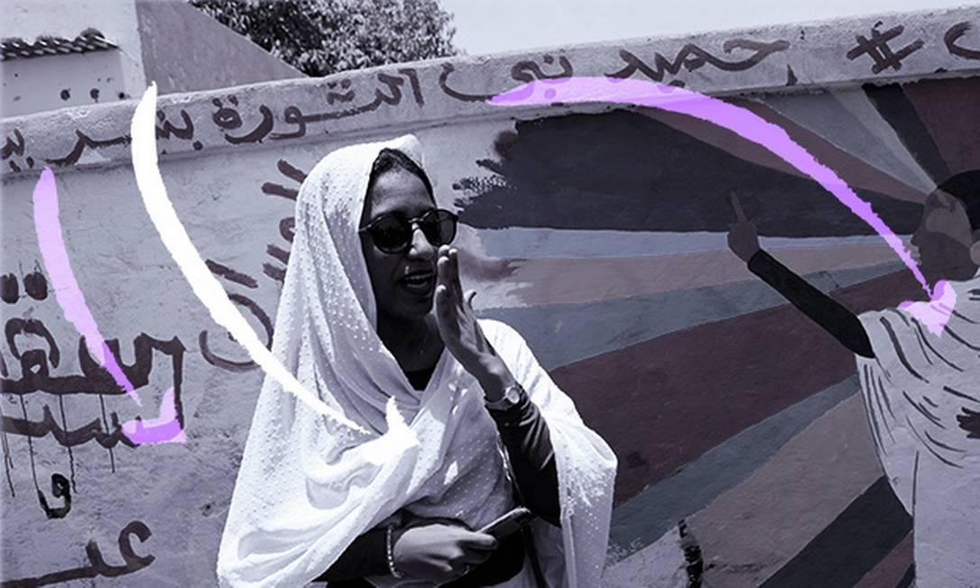A ativista sudanesa Alaa Salah ganhou destaque depois que apareceu em um vídeo e se tornou símbolo dos protestos Foto: Arte sob foto de UMIT BEKTAS
