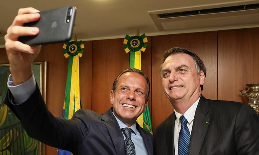 O governador de São Paulo e o presidente Jair Bolsonaro no Palácio do Planalto Foto: Marcos Correa / divulgação