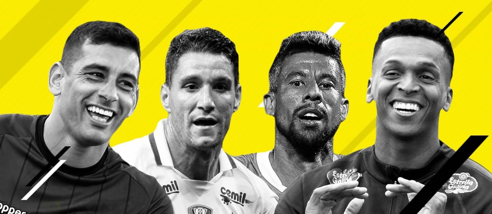 Diego Souza, Thiago Neves, Léo Moura e Jô são alguns dos nomes da lista Foto: Editoria de Arte