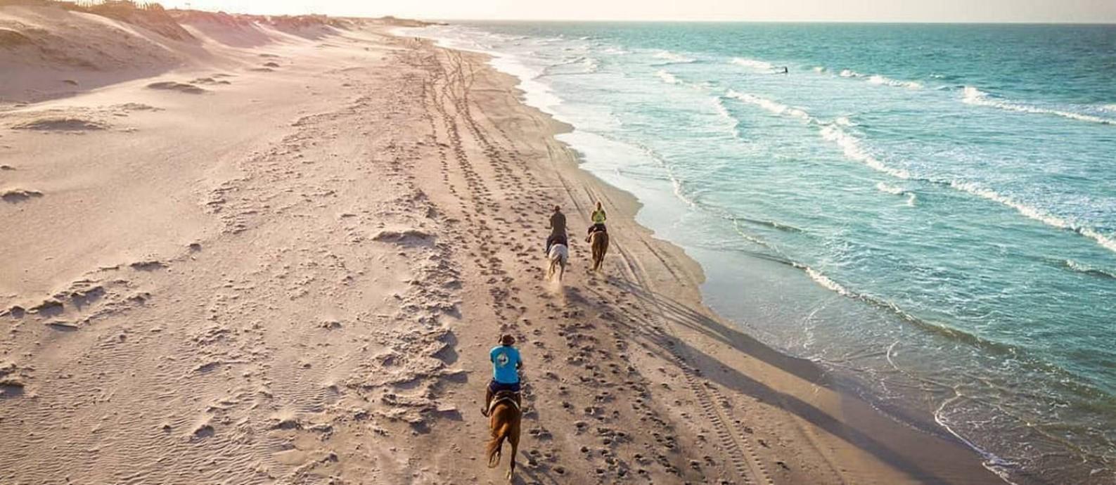 Cavalgadas em praia em Fortim, um dos destaques de roteiro no litoral do Ceará Foto: Divulgação
