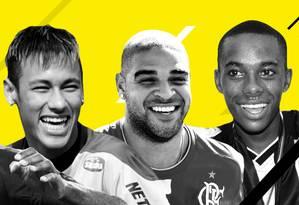 Dedé, Neymar, Adriano e Robinho: alguns dos maiores jogadores do Brasileirão de pontos corridos Foto: Editoria de Arte