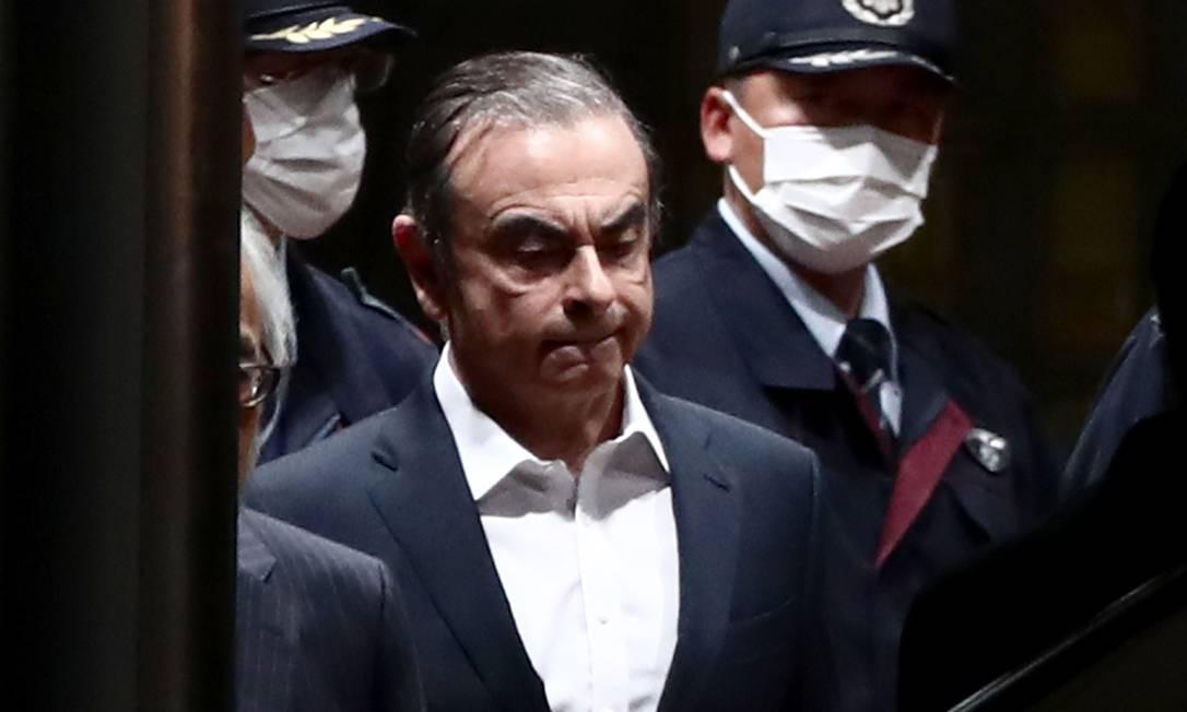 Carlso Ghosn, ex-Nissan, deixa a prisão nesta quinta-feira, após pagamento de nova fiança Foto: BEHROUZ MEHRI / AFP