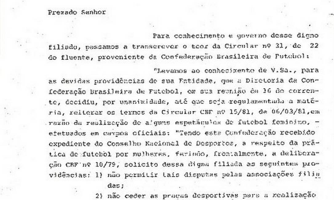 Circular da federação paulista proibindo os clubes filiados de organizar jogos de mulheres em 1982 Foto: Arquivo do Museu do Futebol