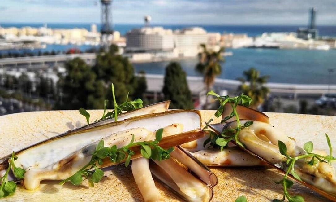 Prato da Terraza Martinez, no Parque Montjuïc, com vista para o porto de Barcelona ao fundo Foto: Facebook / Reprodução