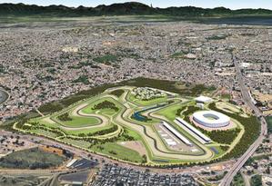 Projeto da Rio Motorsports do novo autódromo, em Deodoro. Reta teria 1,2 km de extensão Foto: Divulgação/ Consórcio Rio Motorsports
