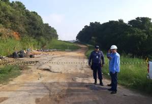 A área onde ocorreu o vazamento está isolada Foto: Diego Amorim / Agência O Globo