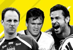 Rogério Ceni, Petkovic, Fred e Conca estão entre os maiores jogadores do Brasileirão de pontos corridos Foto: Editoria de Arte