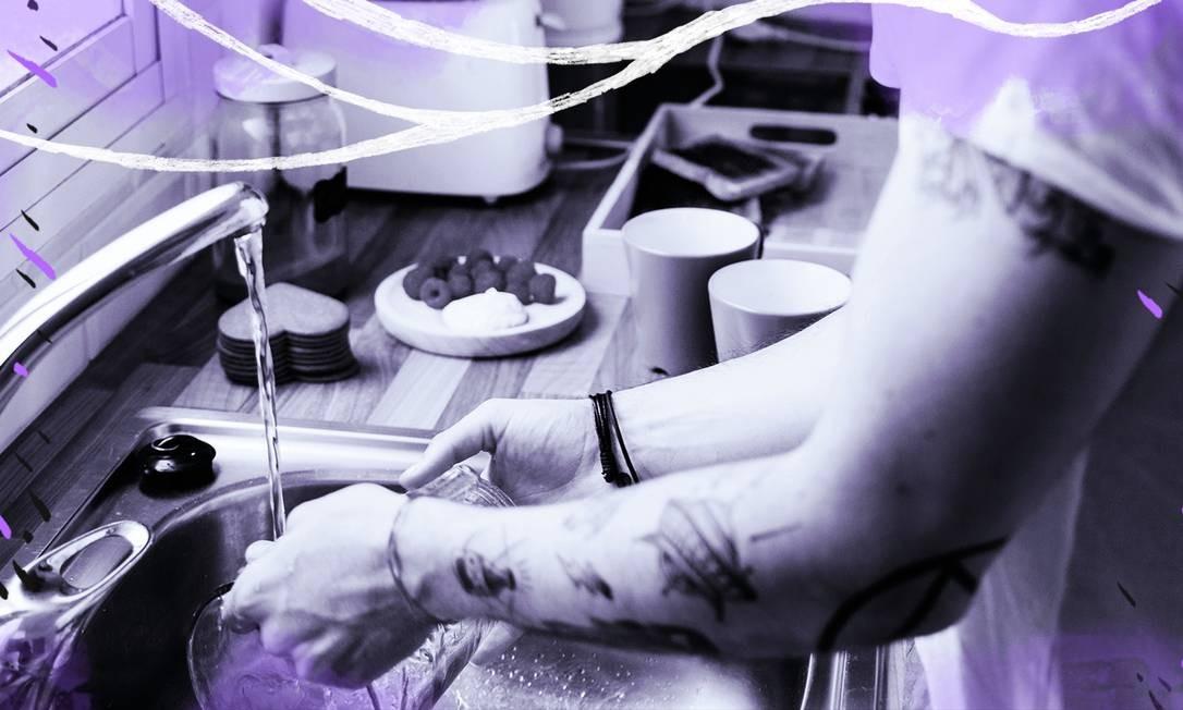 Homens casados lavam bem menos louça do que os solteiros. Já entre as mulheres, quase não há diferença Foto: Arte de Luiz Lopes sobre foto de divulgação