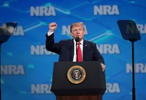 Donald Trump discursa durante evento anual da NRA Foto: SCOTT OLSON / AFP