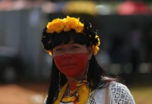 Índigenas de diversas etnias ocuparam a Esplanada dos Ministérios Foto: Jorge William / Agência O Globo