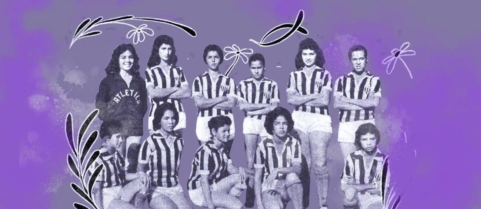 Meninas que formaram o time do Araguari, de 1958 a 1959 Foto: Arte sobre foto de arquivo pessoal de Ney Montes