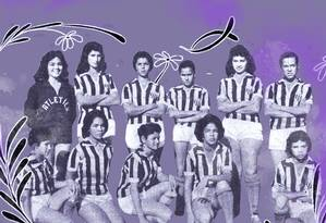Meninas que formaram o time do Araguari, de 1958 a 1959, no interior de Minas Foto: Arte sobre foto de arquivo pessoal de Ney Montes