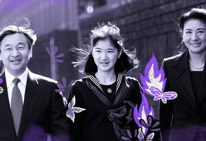 O príncipe herdeiro Naruhito (à esquerda), a princesa Masako (à direita, e a filha do futuro casal imperial, a princesa Aiko (ao centro): pressão para gerar um filho que continuasse com a linhagem da mais antiga dinastia real do mundo Foto: Arte