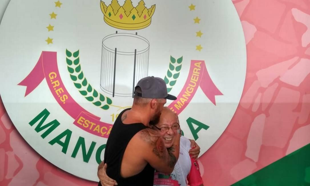 Carnavalesco Leandro Vieira e Elias Riche, novo presidente da verde-rosa Foto: Renan Rodrigues