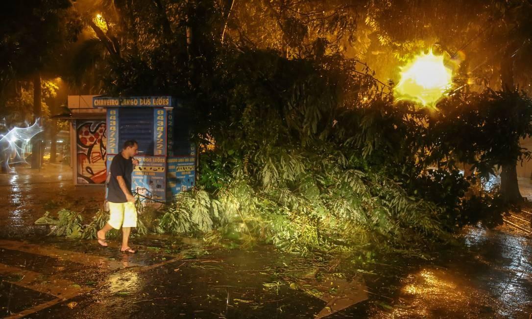 Forte temporal com ventos muito fortes assustou os cariocas no início da noite, e provocou transtornos, como a árvore caída no Largo dos Leões, no Humaíta Foto: Marcelo Regua / Agência O Globo/28/04/2019